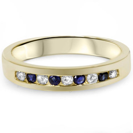 1/3ct Diamond & Blue Sapphire Anniversary Wedding Ring 14k Yellow Gold (G/H, I1)