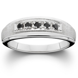 Mens Black Diamond Ring 14K White Gold (Black, VVS)