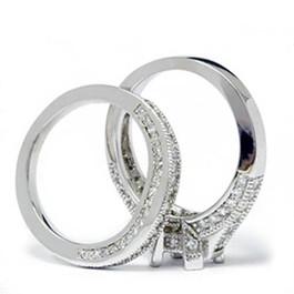1/2ct Vintage Heirloom Diamond Ring Set 14K White Gold (G/H, I1)