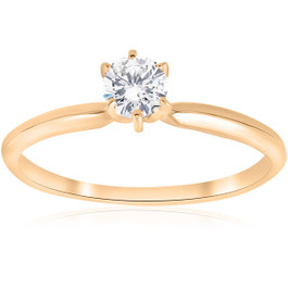 14k Yellow Gold 1/4ct Round Diamond Solitaire Engagement Ring (G/H, I1)