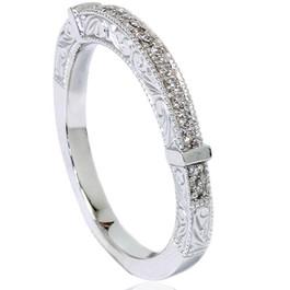 1/4ct Vintage Heirloom Diamond Wedding Ring 14K White Gold (G/H, VS2-SI1)