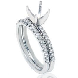 3/8ct Diamond Engagement Ring Set 14K White Gold (G/H, I2-I3)