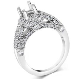 3/4ct Vintage Halo Ring Setting 14K White Gold (G/H, I1-I2)
