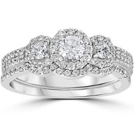 1.00CT 3-Stone Diamond Engagement Wedding Ring Set 10K White Gold (H/I, I1-I2)