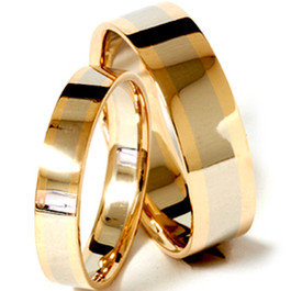 Gold Two Tone Matching His Hers Wedding Band Ring Set