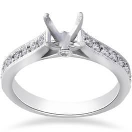 1/3ct Diamond Engagement Semi Mount Ring 14K White Gold (G/H, SI)