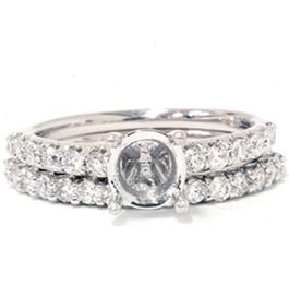 3/4ct Half Eternity Diamond Ring Set 14K White Gold (G/H, I1)