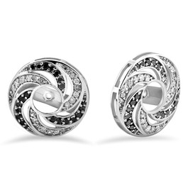 1/2ct 14K White Gold Floral Style Black & White Diamond Earring Jackets (H-I, I3)