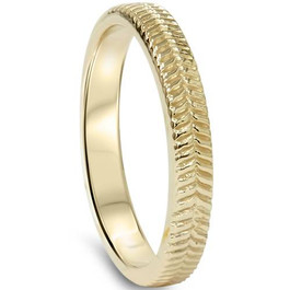14K Yellow Gold Hand Carved Wedding Band