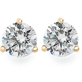 .85Ct Round Brilliant Cut Natural Diamond Stud Earrings in 14K Gold Martini Setting (G/H, I2-I3)