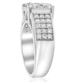1 5/8 ct Square Framed Halo Diamond Engagement Ring Wide Pave 10k White Gold (H/I, I1-I2)