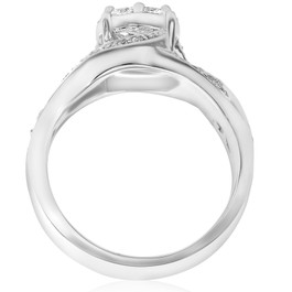 1ct Pave Round Brilliant Halo Diamond Engagement Cross Over Ring 10k White Gold (H/I, I1-I2)