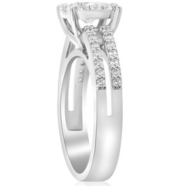 1 1/2ct Pave Round Cut Halo Diamond Engagement Ring 14k White Gold Double Row (I/J, I1-I2)