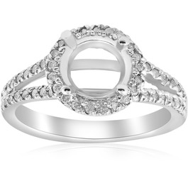 1/2ct Halo Split Shank Diamond Engagement Ring Setting 14k White Gold Semi Mount (H/I, I1-I2)