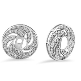 G/SI 3/4ct Diamond Studs & Earring Halo Jackets 14k White Gold (H-I, I3)