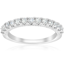 1/2ct U Prong Diamond Milgrain Wedding Ring 14k White Gold (G/H, I1)