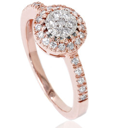 1/2ct Cluster Diamond Ring 14K Rose Gold (H/I, I1)