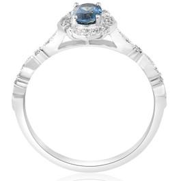 3/4ct Oval Blue Sapphire Diamond Halo Vintage Engagement Ring 14K White Gold (I/J, I2)