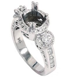 1ct Diamond Antique 3 Stone Ring 14K White Gold (G/H, I1)