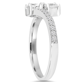 1CT 2 Stone Forever Us Lab Grown Diamond Engagement Ring 14k White Gold ((G-H), VS2-SI1)