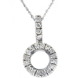 White Gold 1/4ct Pave Have Solitaire Diamond Semi Mount Pendant (G/H, I1)