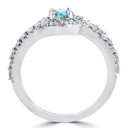 1 1/2ct Blue Diamond Engagement Halo Curve Ring Set 10K White Gold (I/J, I2-I3)