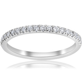 1/5ct Pave Diamond Wedding Ring Stackable Anniversary Band 14k White Gold (H-I, I1)