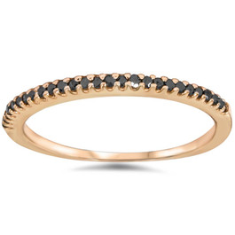 1/10ct Black Diamond Stackable Ring 14K Rose Gold (Black, )