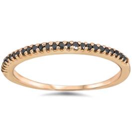 1/10ct Black Diamond Stackable Ring 14K Rose Gold (Black, )