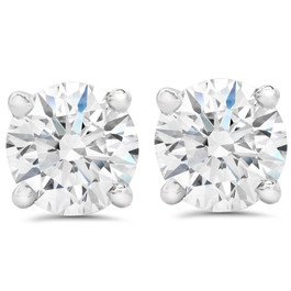 1 1/2 ct Round Round Diamond Studs with Screw Backs 14k White Gold Enhanced ((F), SI(1)-SI(2))