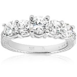 Vintage 2 1/2 cttw Graduated Diamond Engagement 14K White Gold Ring Enhanced (G/H, I1)