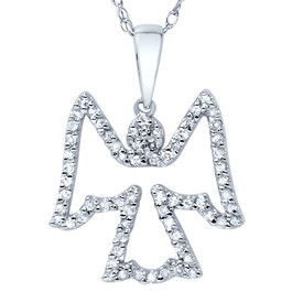 1/4ct Diamond Angel Pendant 14K White Gold