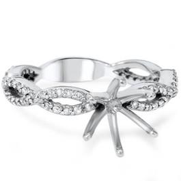 3/8ct Diamond Infinity Engagement Ring Setting 14K White Gold (H/I, I1-I2)