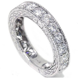 1 5/8ct Lab Created Diamond Ring Vintage Aqntique Filigree 14K White Gold (F, VS)
