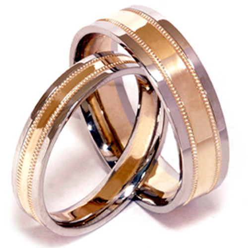 White Yellow Gold Two Tone His Hers Wedding Band Set WBS1696 Pompeii3 Content Feeds Images