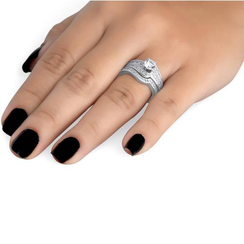 1 ct Diamond Round Solitaire Engagement Ring Wedding Band Set 14k