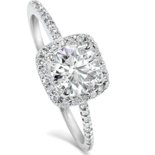 diamond engagement ring matching halo wedding ring set 14k white gold round h i i1