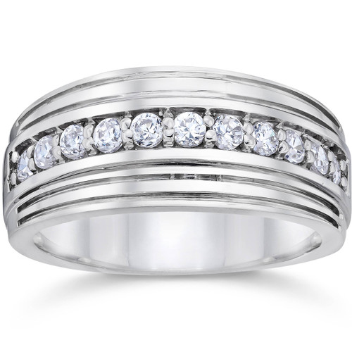 12 Carat Mens Diamond Wedding Ring 10K White Gold