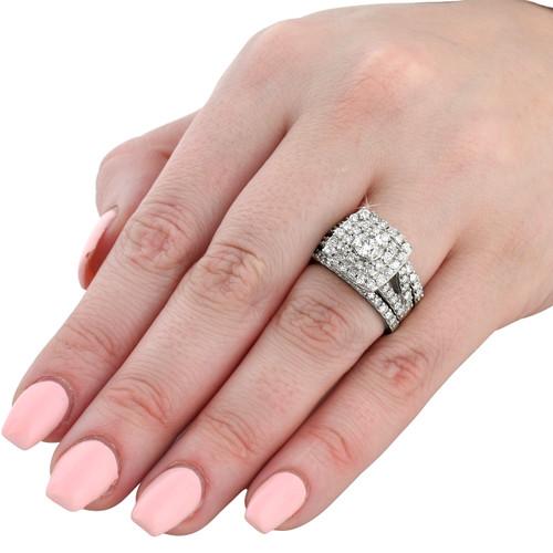 3 Ct Diamond Engagement Wedding Cushion Halo Ring Set 10k White Gold H I I1 I2