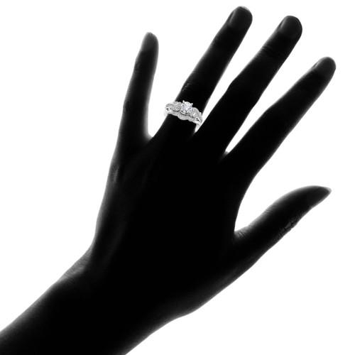 emery 34ct vintage diamond engagement wedding ring set 14k white gold hi i1 - Vintage Diamond Wedding Rings
