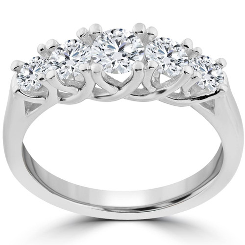 1 Ct 5-Stone Graduated Real Round Diamond Wedding Engagement Ring 14K White Gold (H/I, I1-I2)