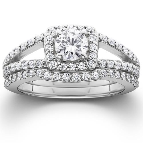 1 5ct Pave Halo Split Shank Diamond Engagement Wedding Ring Set 14K White Gold G H I1