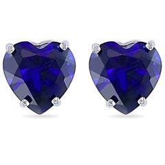 Heart Shape Sapphire Studs