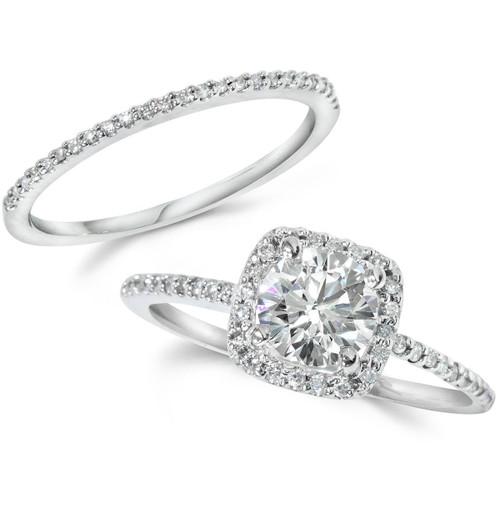Diamond Engagement Ring Matching Halo Wedding Ring Set 14K
