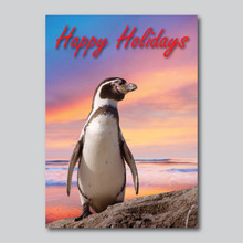 Happy Holidays Penguin Sunset Card