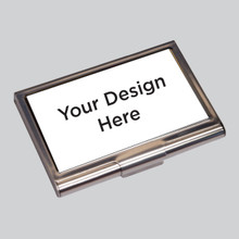 Silver metal business card holders with your custom design