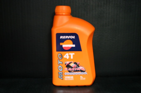 Repsol Moto 4T racing 10W40 Full Synthetic oil, It's the ideal synthetic lubricant oil for very high performance 4-stroke engines. It's formula ensures maximum protection for all engine components, With special emphasis on the clutch and gearbox. It's efficiency is reflected in the reduced friction of the engine components and maximum power is maintained at all times. The results have been proven at the highest level in  both national and international competitions under extreme conditions with specially prepared and standara bikes. It performs equally well on the road and on the racetrack. •10W40 API SJ •JASO T903:2006 MA & MA2