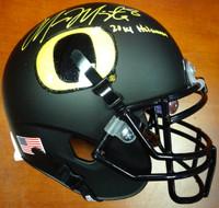 """Marcus Mariota Autographed Black Mini Helmet Oregon Ducks """"2014 Heisman"""" MM Holo"""