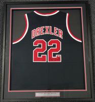 Clyde Drexler Autographed Portland Trailblazers Black Framed Jersey Steiner Holo