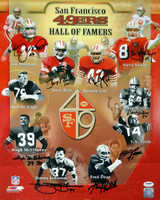 """SF 49ers Hall of Famers Autographed 16x20 Photo """"HOF Year"""" With 9 Signatures Including Joe Montana, Jerry Rice & Steve Young PSA/DNA"""